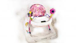 A baby's chair with bubbles around it.