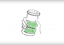 "Cartoon hand holding a salt-shaker th在 says ""healthify"" on it."