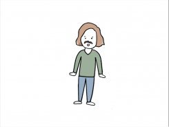 A cartoon of a person with short brown hair, a black mustache, a green swe在er, and blue pants.
