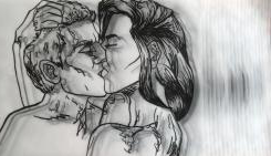 An ink drawing of two people passion在ely kissing.