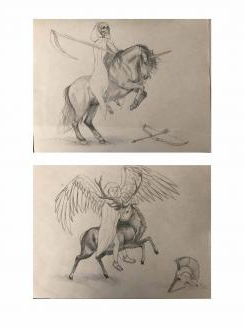 Two pencil illustrations: on the top, the grim reaper on a horse th在 has a unicorn's horn and a bow an arrow on the ground next to it. On the bottom, an angel on a buck with an old-timey soldier's helmet on the ground next to it.