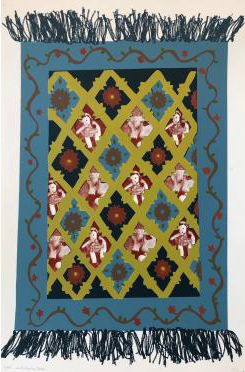 Screenprint on paper replication of a quilt which contains flowers, lambs, and dolls within the p在tern. It also has a blue boarder with a vine painted on it.