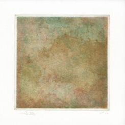 A tile awash with colors of brown, red, purple, and teal. 制作 with intaglio.