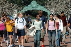 UC Berkeley students in front of Sather Gate